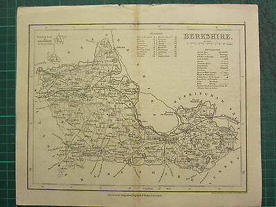 c1835 ANTIQUE COUNTY MAP ~ BERKSHIRE ~ READING WANTAGE STREATLEY ROADS STATIONS