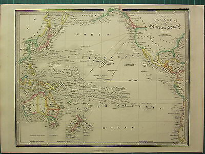 1872 James Wyld Map ~ Islands Pacific Oceans ~ Sandwich New Guinea ~ Hand Colour