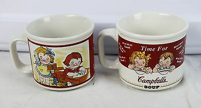 Lot of 2 Vintage Campbell's Kids Soup Collectibles Mugs Cups Houston Harvest HH