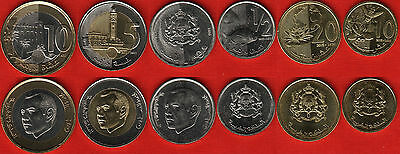 Morocco set of 6 coins: 10 santimat - 10 dirhams 2011-2015 UNC
