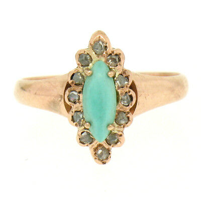 Antique Victorian 10K Rose Gold Marquise Turquoise .30ctw Diamond Solitaire Ring