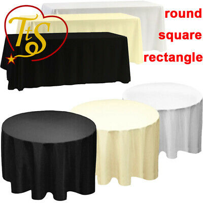 Black Polyester Table Cloth Dining Tablecloth Cover Banquet Wedding Round Decor