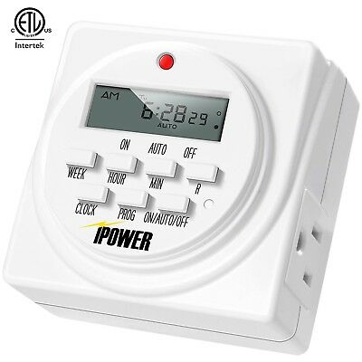 7-Day Dual Outlet Digital Program Heavy Duty Timer, 120-volt