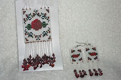 Collectible Handbeaded Yaqui Red Rose Flowers Necklace + matching earrings