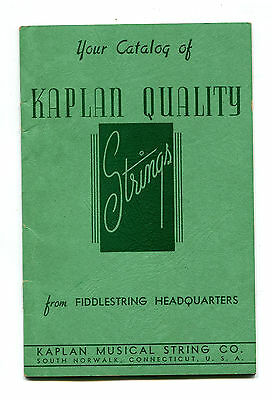 Vintage Catalog KAPLAN QUALITY STRINGS Fiddlestrings South Norwalk CT 1939