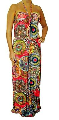 NEW Red Multicolor Floral Cocktail Maxi Summer Halter Beach Sun DRESS S M L XL