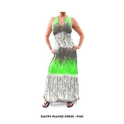 NEW Womens Green White Summer Maxi Plunge Midi Long DRESS Juniors Sexy S M L XL