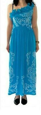 Blue Multi Color One Shoulder Womens Summer Maxi Halter Long DRESS S M L XL