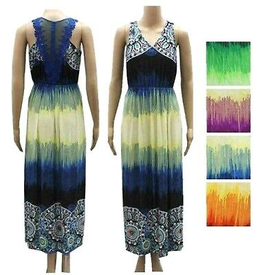 NEW Womens Blue Multi color Floral Summer Maxi Long DRESS Sexy S M L