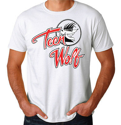 Teen Wolf Logo 80's Funny Comedy movie Inspired Costume Party New White T-Shirt