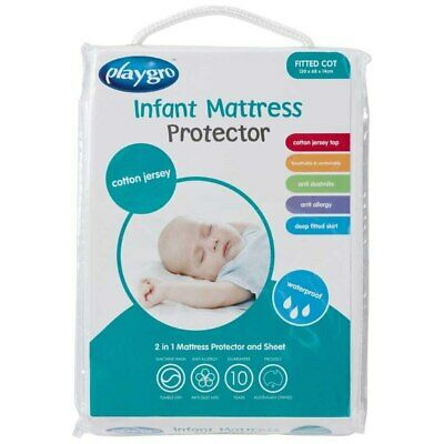 Playgro - Cotton Jersey Infant Fitted Cot Mattress Protector (130x68x14cm) - ...