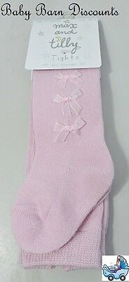 Max and Tilly Tights - Pink  with bows - Size 6-12 Months