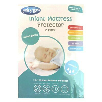 Playgro - Cotton Jersey Infant Large Fitted Cot Mattress Protector (134x80x17...