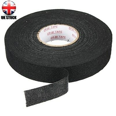 Black Wiring Loom Harness Adhesive Cloth Fabric Tape Cable Loom 19mmx25m