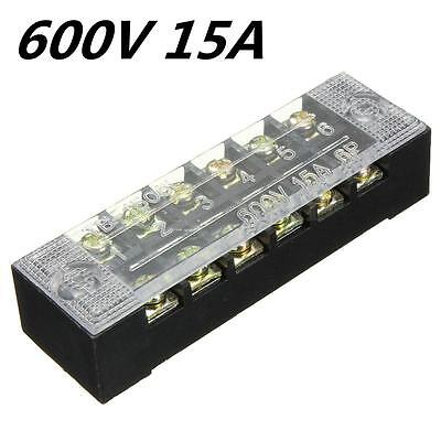 6-Position 600V 15A Double Row Wire Barrier Block ,Screw Terminal Strip Panel