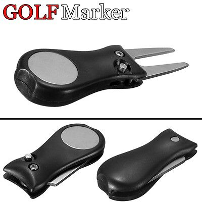 Golf Ball Marker Switchblade Pitchmark Divot Repair Tool Pitch Groove Cleaner