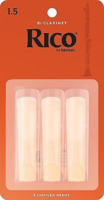 Rico Bb Clarinet Reeds strength size 1.5,  pack of 3