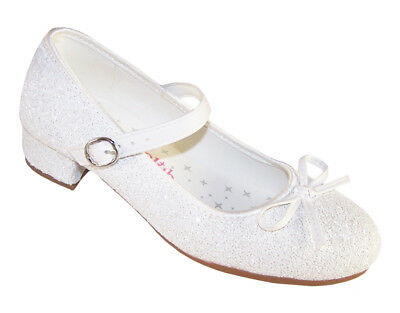 Girls Children White Low Heel Sparkly Flower Girl Communion Bridesmaid Shoes