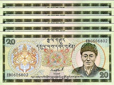 Bhutan 20 Ngultrum 1992 P.16 Unc Sign 1 Lot 5 Pcs