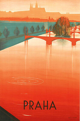 A3 Size - Prague Praha Slovakia - old vintage retro travel posters wall art #3