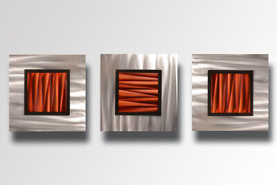 3 Piece Modern Contemporary Abstract Metal Wall Sculpture Art Painting Copper