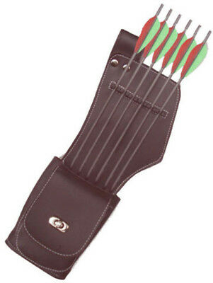 Synthetic Side/hip Left Hand Quiver With Pocket Archery Products Saq142 Brown.