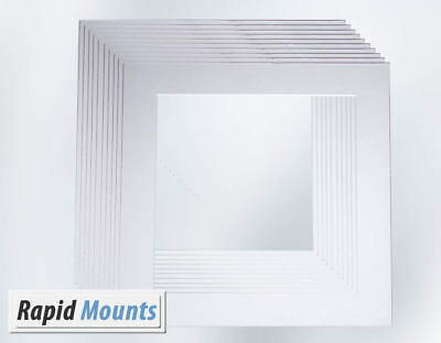 10 Pack Square Mounts for Picture / Photo frames- White Core board Various Sizes