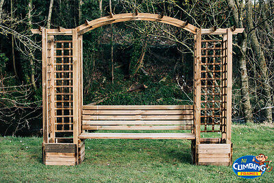 Wooden Arched Pergola with Seating & Chimney. Garden Heavy duty Trellis Outdoor