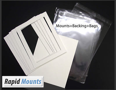 """Mounts + Backing and Bags- White core board. Sizes 8x6"""" - 16x12"""" kits"""