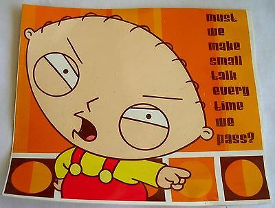 Family Guy Stewie sticker  Licensed Must We Make small talk
