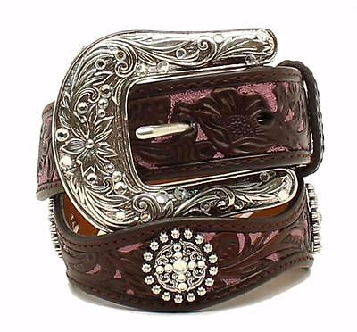 Ariat Western Girls Kids Belt Leather Scalloped Conchos Floral Brown A1301802
