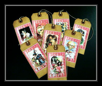 Eight Valentine Hang Tags - Old Looking Primitive  Designs