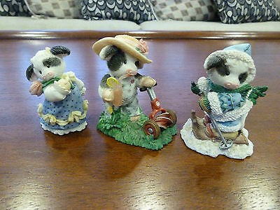 Vintage Set of 3 Enesco Mary's Moo Moos Figurines, 1996 January, May, and June,