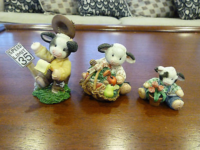 Vintage Set of 3 Mary's Moo Moos, Moo Serve and Protect, Cow Lickin Good, Bloom