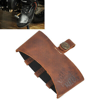Brown Leather Motorcycle Shift Guard Shifter Sock Boot Shoe Protector Cover New