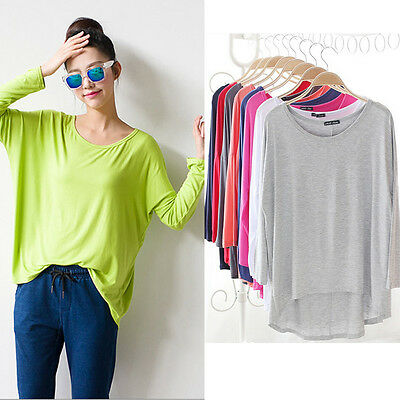 Women Ladies Casual Modal Long Sleeve Loose Basic Tee T-shirt Solid Top modal