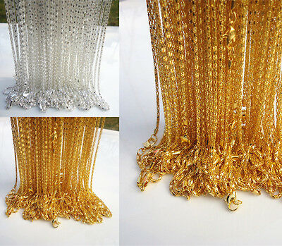 "LOT 20-500pcs Silver/Gold plated Hollow Snake Chain Necklace Lobster clasp,20"" L"