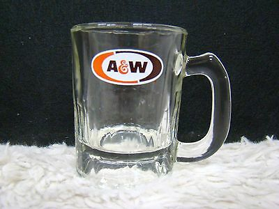 "A & W Small Logo Advertising Glass Drinking Mug 3.25"", Collectible Home Decor"