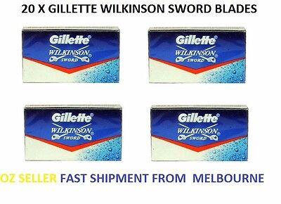 20 X Gillette Wilkinson Sword Stainless Steel Double Edge Safety Razor Blades