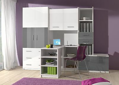 kinderzimmer grau hochglanz jugendzimmer komplett zimmer kinderm bel eur 675 00 picclick de. Black Bedroom Furniture Sets. Home Design Ideas