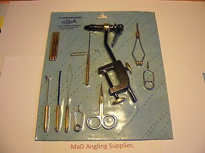 12 Piece FULL sized FLY TYING TOOL KIT with Black AA VICE with Table Clamp