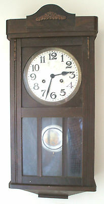 "German Glazed & Carved Mahogany Case Striking Wall Clock 24.5""H 10.5""W 5.5""D GWO"