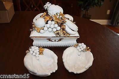 Vintage Benrose Capodimonte White/Gold Porcelain Fruit Centerpiece & 2 Hand Dish