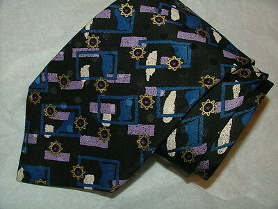 "Mens Brioni Roma Tie 100% Silk Xl 62"" Black Blue Purple Geometric Prints #08"