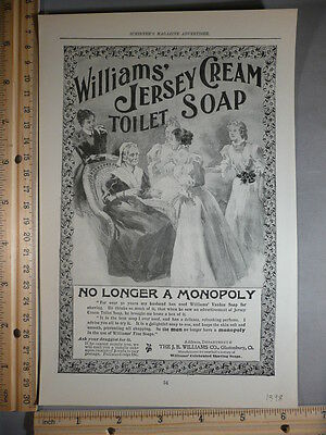 Rare Orig VTG 1898 Williams Jersey Soap Elgin Watch Christmas Advertising Print