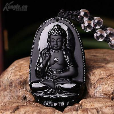beautiful Black 100% Natural A Obsidian Carved Buddha Necklaces pendant