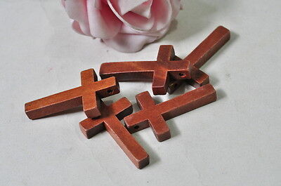 15pcs Wood Cross Charm Pendant Natural Wooden Necklace Craft Brown Finished