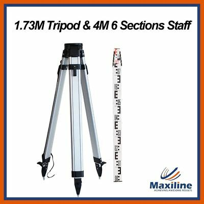 Flat Aluminum Tripod and 4M Staff for Rotating Rotary Laser level Dumpy Level