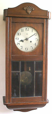 "Haller A.G. German Glazed & Mahogany Case Striking Wall Clock 31""H 13""W 7""D GWO"