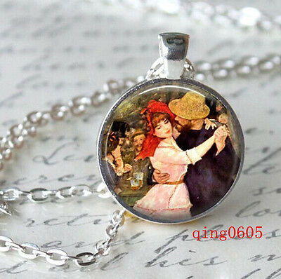 Vintage Cabochon Tibetan silver Glass Chain Pendant Necklace sweetheart #Y76